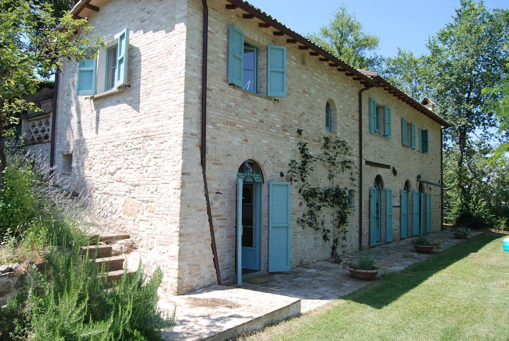 Casa Poggio from lower terrace. Bedrooms exit onto the lawn