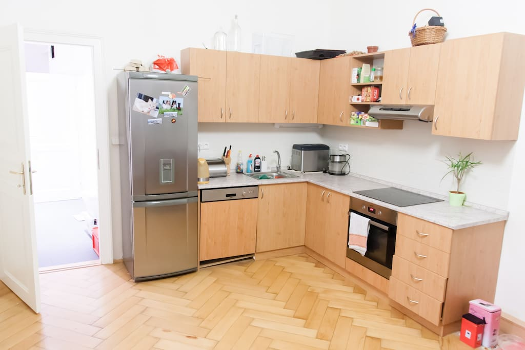 Kitchen with stove, fridge, dishwasher.