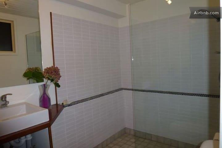 Studio bathroom separate from bedroom