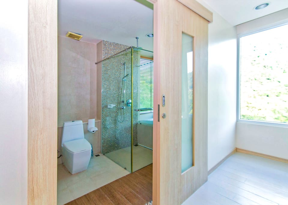 Main Bathroom entrance with private dressing area and storage.