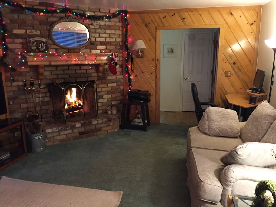 Living Room with Holiday Decorations