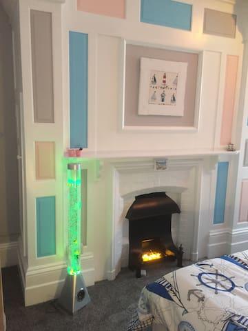 Bright fireplace