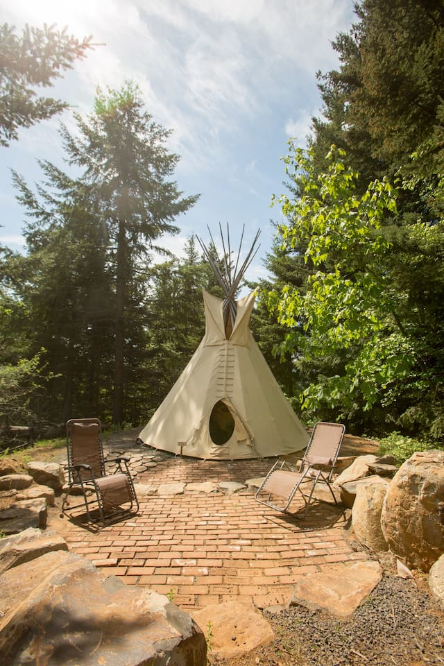 Private patio at your tipi