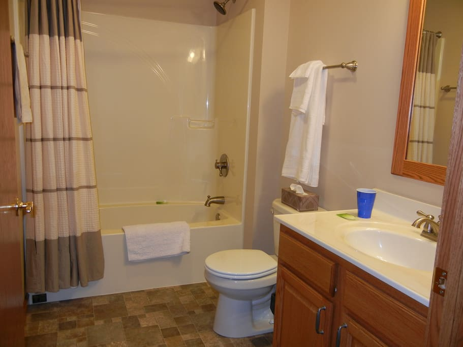 ___GUEST BATHROOM, WITH SHOWER  & TUB COMBINATION. IT HAS A PRIVATE DOOR INTO THE SPARE BEDROOM.