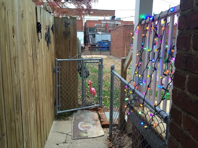 Entrance to our backyard (please close the 2 metal gates)