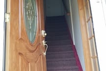 Stairs heading to 2nd floor rooms