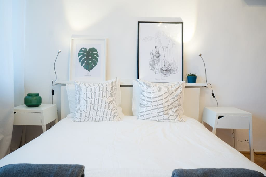 Stirring bedroom with a touch of art.