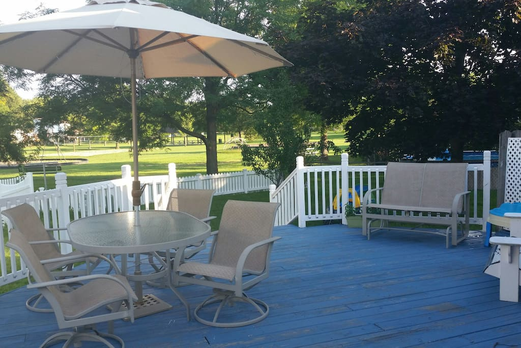 Spacious patio overlooking a wonderful park