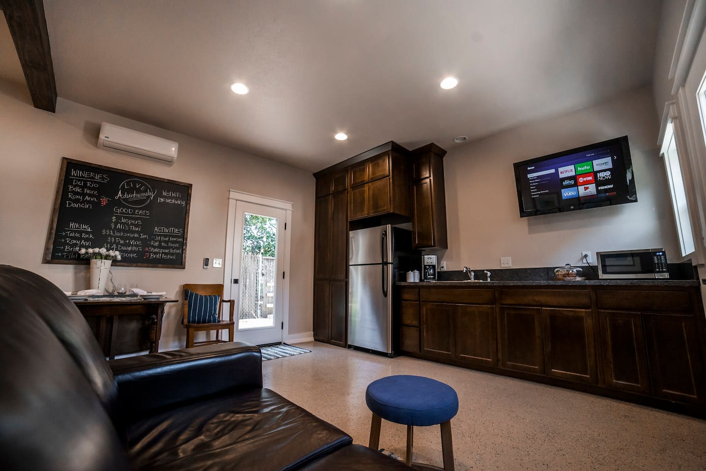 Wall mounted TV with a Roku streaming stick equipped with Netflix and much more! The fridge will be stocked with a rotation of our favorite snacks and drinks as well as muffins or similar pastries for breakfast.