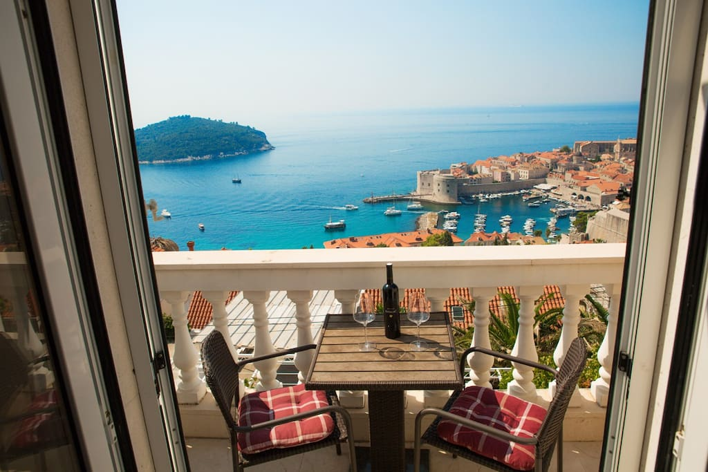 Private balcony with beautiful view over Dubrovnik Old town