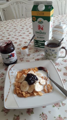 Breakfast included. Breakfast consists of cereals, milk, sugar, jam, banana to slice or eat whole, tea and eggs.