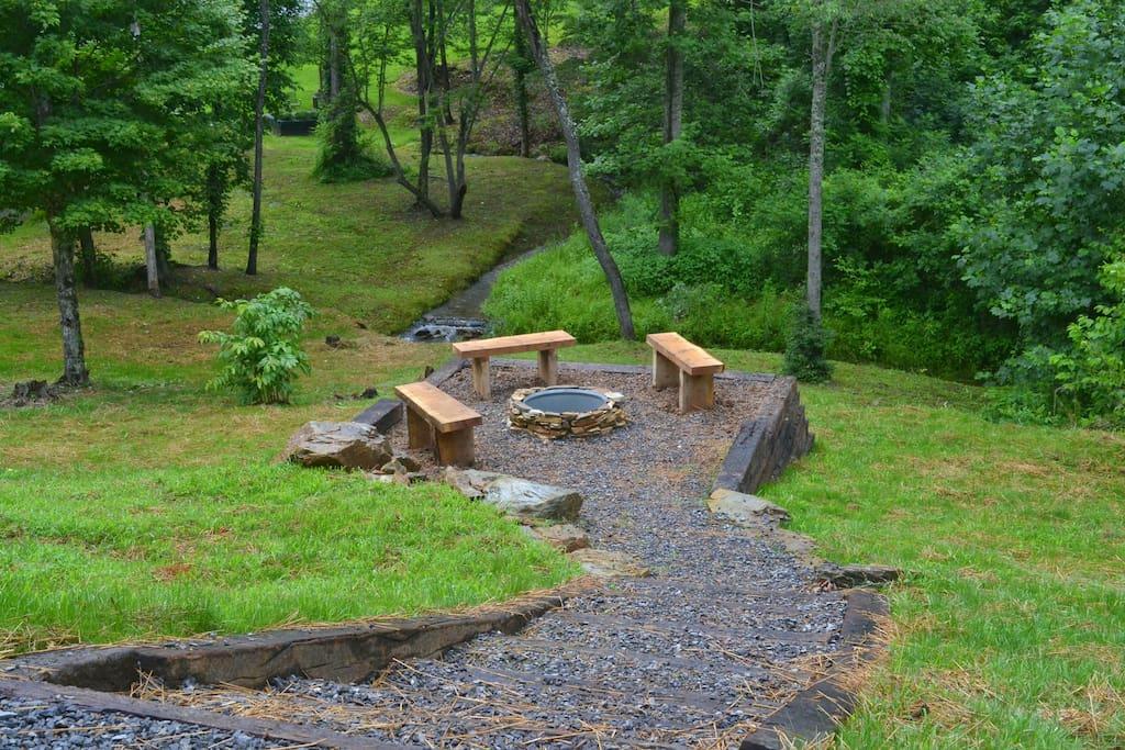 Creek side fire pit