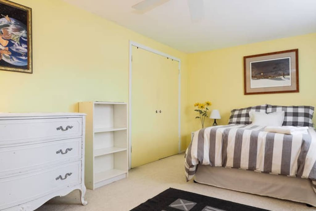 Beautiful, large, and sunny room with lots of closet, desk, and drawer space.