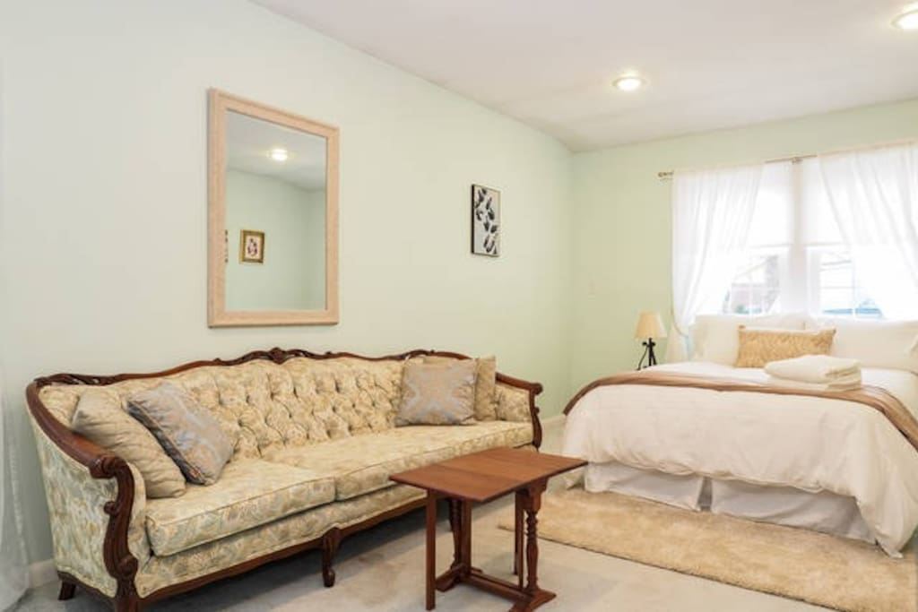 Beautiful, spacious bedroom with full size bed, sofa, desk, bookshelf, and TV/Internet...with private entrance.