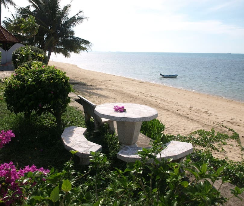 Imagine yourself relaxing here at our communal beachside table with fabulous views of the ocean, less than 30 meters from the house.