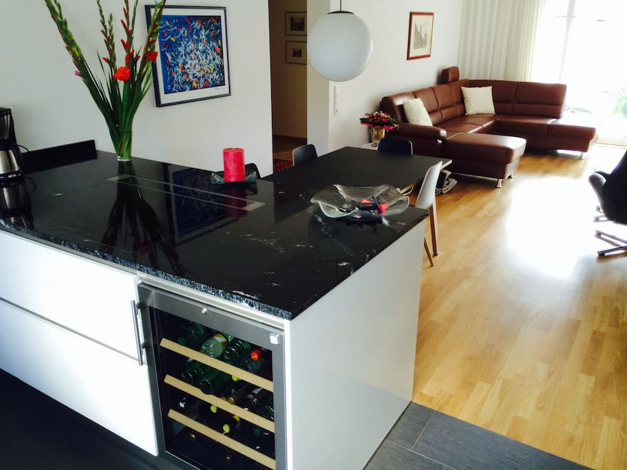 Full marble kitchen with wine cooler