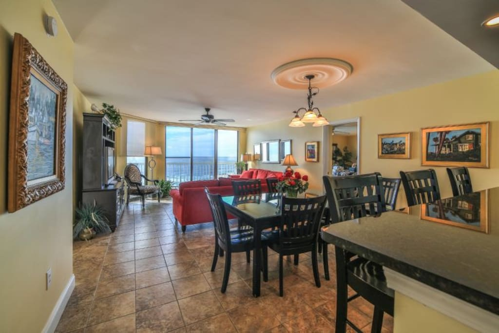 Tiled Living, Dining & Kitchen Area