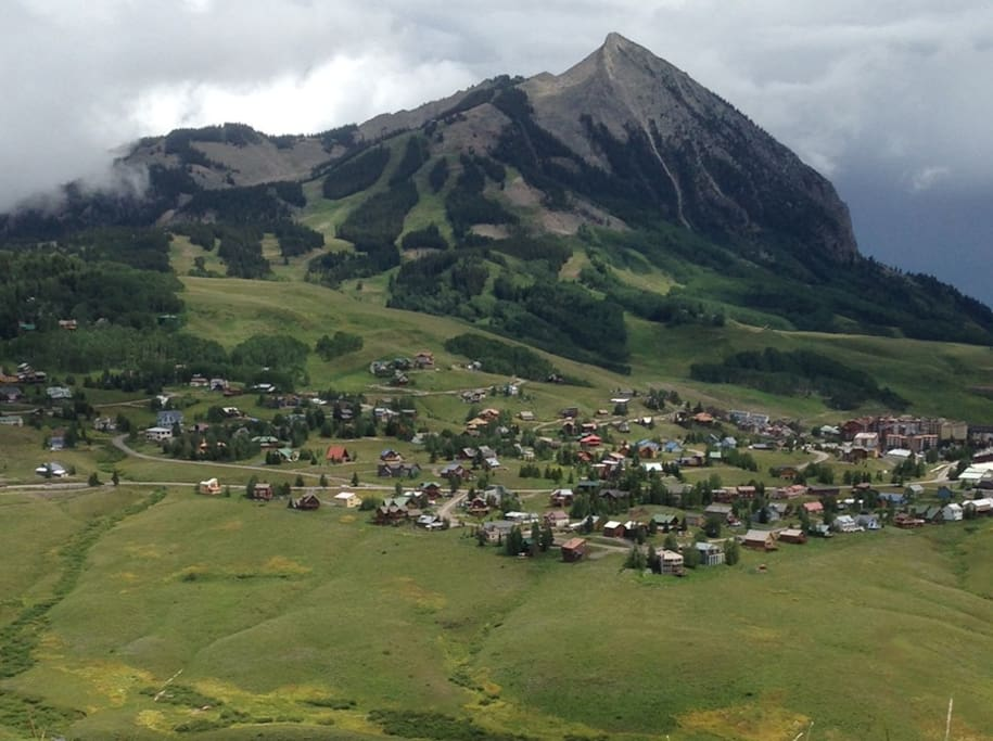 Beautiful Mt. Crested Butte! We are just at the base on the right side of the mountain - walk to the base! Ski in and out.