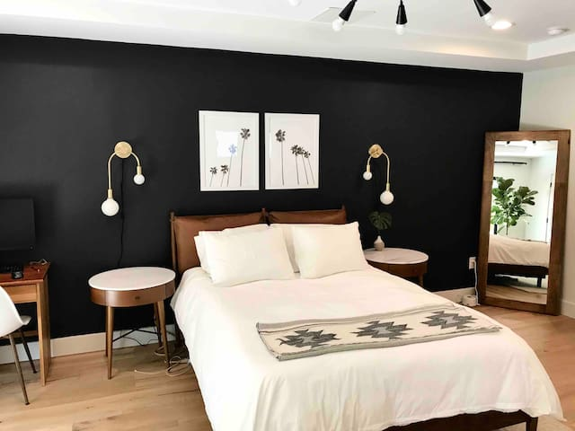 Master Bedroom with Queen Bed, Desk, Hanging Rack, Drawer Space, & Full Length Mirror