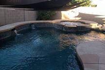 pool and heated spa with thearpy jets
