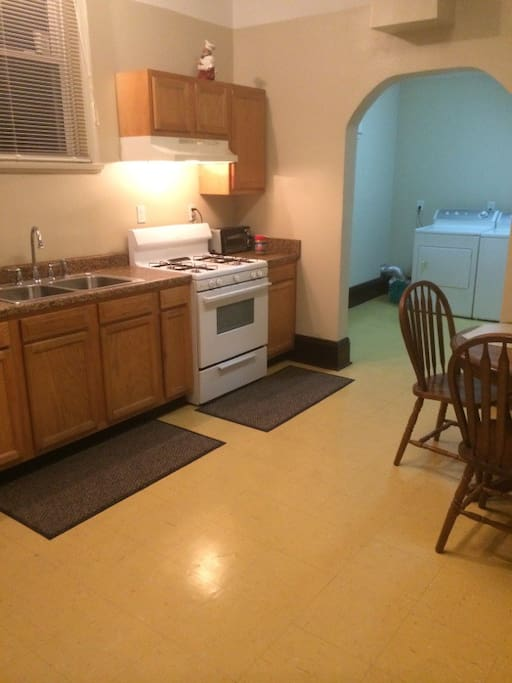Kitchen is completely stocked with cooking & eating utensils.  Feel free to enjoy beverages and snacks provided for your enjoyment.  A large capacity Washer & Dryer for your use.
