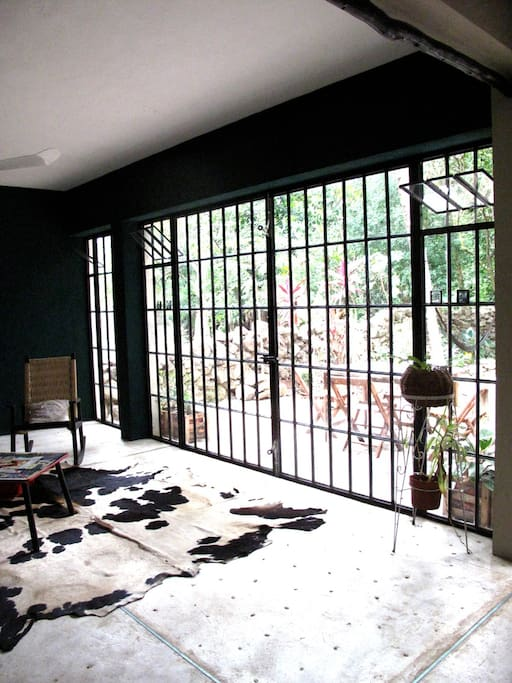 Glass doors leading to the garden