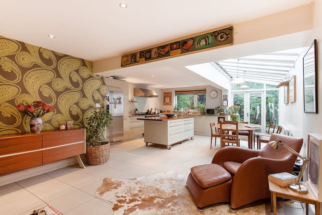 The cosy open- plan kitchen and sitting room area.