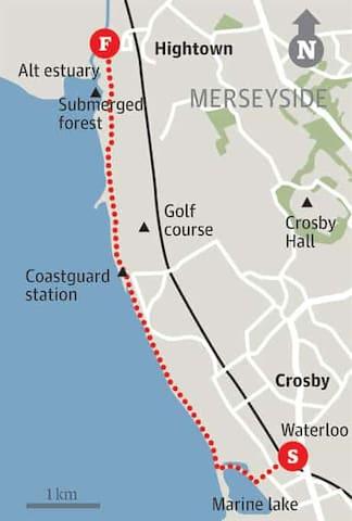 Promenade walk from Hightown to Gormley Figures