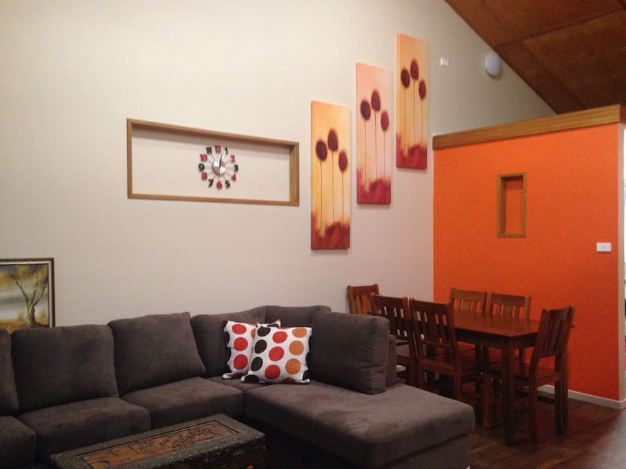 The open plan lounge and dining room