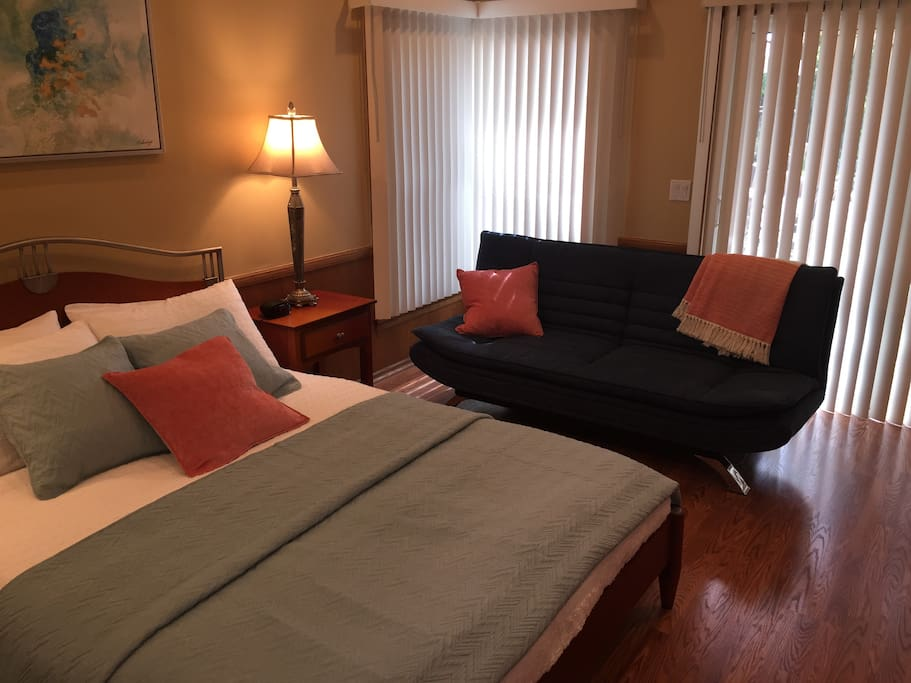 Master bedroom with queen size futon