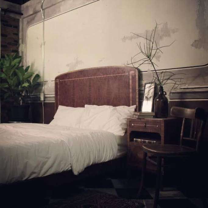 Antique wood double bed .