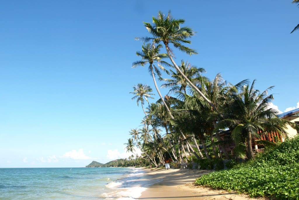 A daytime view of the beach looking East.  This is just 15 seconds walk from the house.