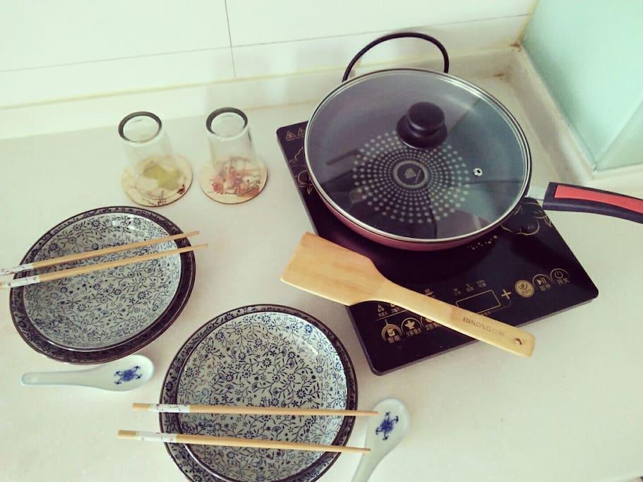 Basic kitchen utensils provided