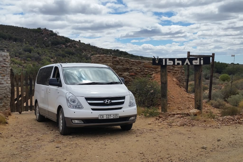 Entrance and the vehicle we use to transport to the lodge from Cape Town.