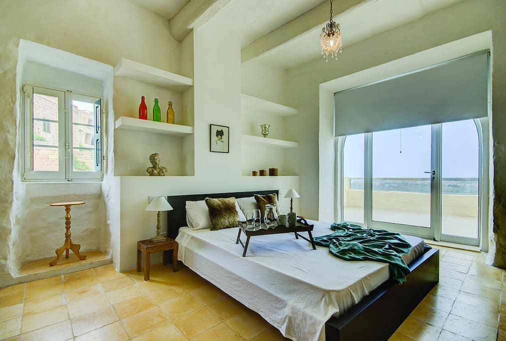 Bedroom 1 and its terrace with views...