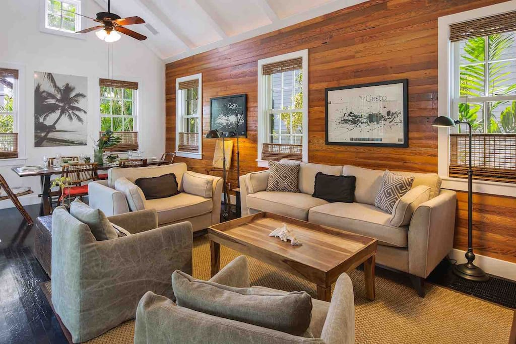 There is plenty of comfortable seating options in the living area...
