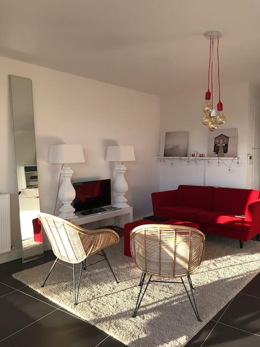 Un salon spacieux et agréable donnant sur la terrasse