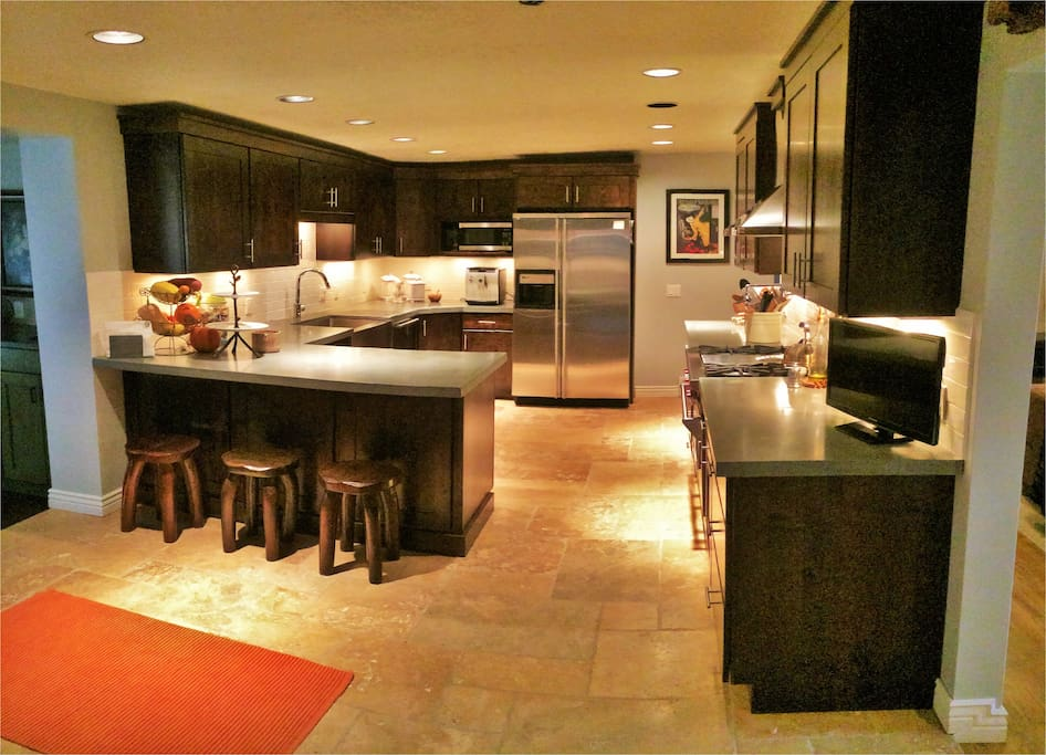 Gorgeous super-luxury kitchen is stocked with all of the amenities you need
