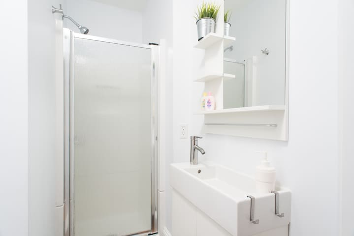 Small, but tidy and nice bathroom. Premium body cleanser, shampoo provided.