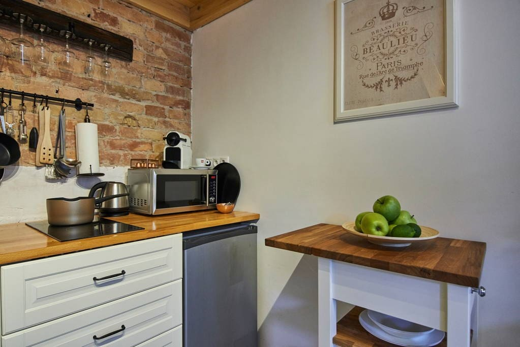 Fully equipped kitchen with complimentary Nespresso coffee and tea.
