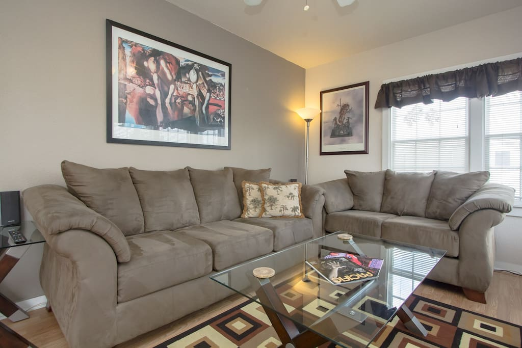 Comfortable living room with great views!