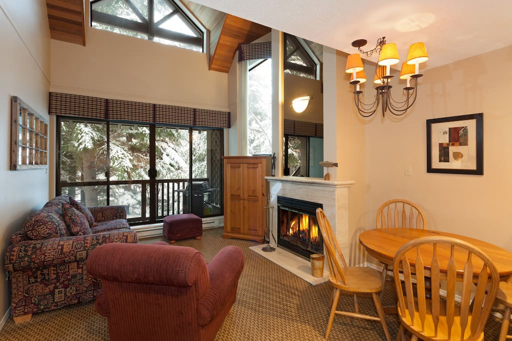Vaulted ceilings with wood burning fireplace