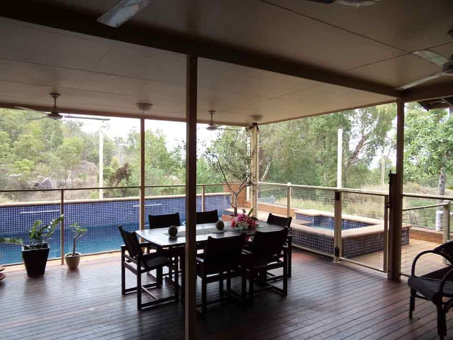 Main deck overlooking pool and National Park