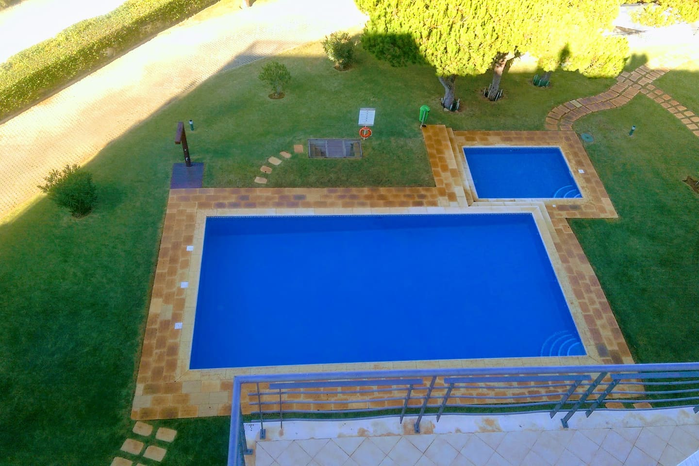 The front pool area, with separate children's pool