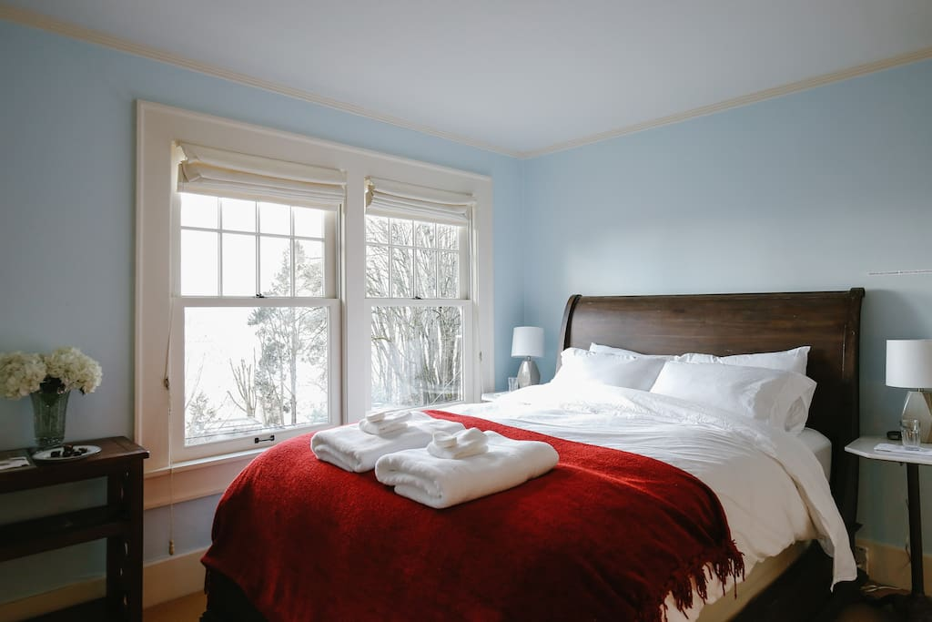 Your bedroom - super comfortable bed, luxurious towels and linens, and plenty of natural light