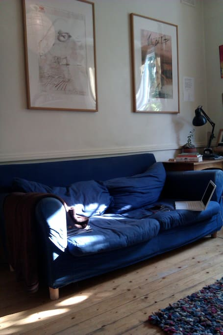 Lounge - with comfortable sofa bed, writing desk, daybed, TV, Wifi, DVD and a Playstation2...retro!