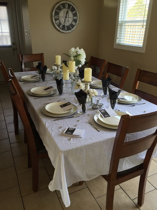 Dining table ready for a dinner party