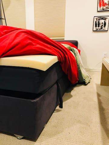 A thick memory foam pad makes the sofa bed super comfy!