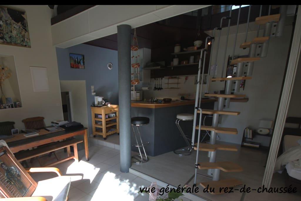 Le r d c avec son bar, sa cuisinette et sa bibliothèque