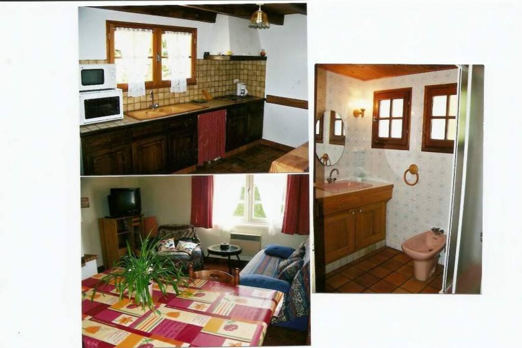 vue cuisine, séjour et salle de bain